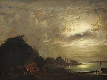 Aleksandr Vasil. Gine (1830-1880), Moonlight Landscape, c. 1870