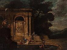 North Italian School, Capriccio with Bathsheba Bathing, 18th C