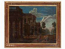 Jan B. van der Straeten, Circle, Palace with Courtiers, 18th C
