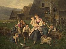 Fritz Beinke (1842-1907), Family Portait with Dog, around 1900