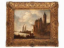 Jan van Goyen, Circle of, Barges Approaching a Village, 17th C