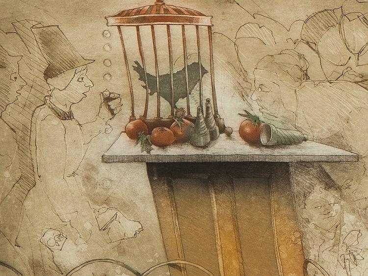 Reinhard Zado, Lithograph 'The Magic Bird', around 1990
