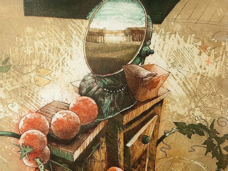 Reinhard Zado, Color Lithograph 'Magic Garden', c. 1990