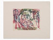 "Ursula, Etching in Colors, ""Schwellkopf"", Germany, 1970"