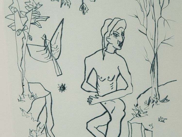 Werner Hilsing, Etching 'Nude with Bird', 1983