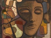 Untitled (Women's Portrait), Mixed Media, 20th C.