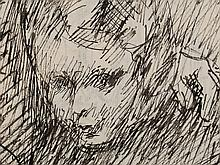 Wilhelm Rudolph, Sketch of a Girl, Pen and Ink, 1950