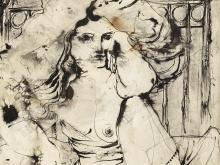 Gérard Morot-Sir, Mixed Media, Female Nude, France, 1960s