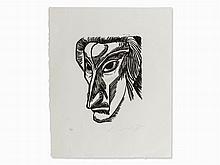 Ernst Fuchs, Selbstporträt II from 'Katakylsmen', Linocut, 1967