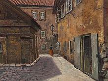 Jan Minarik (1862-1937), View of a Courtyard, c. 1930