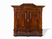 A Walnut Veneered Armoire, Germany, 2nd H of the 18th C.