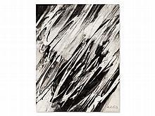 K.O. Götz (born 1914), Gouache, Composition Blach White, 1958