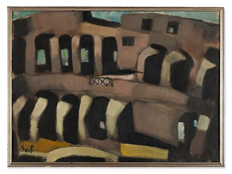 Seif Wanly (1906-1976), Oil Painting, Colosseum, around 1955