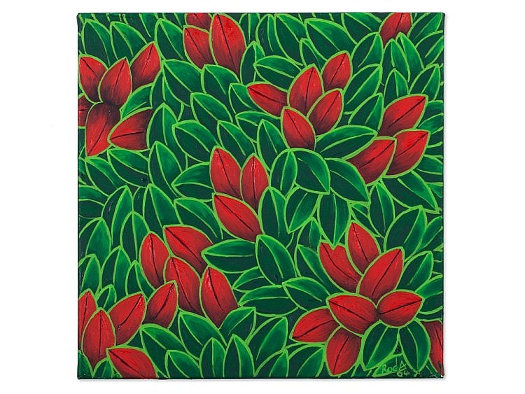 Fernand Roda, Painting, Leaves in Green and Red, 2004