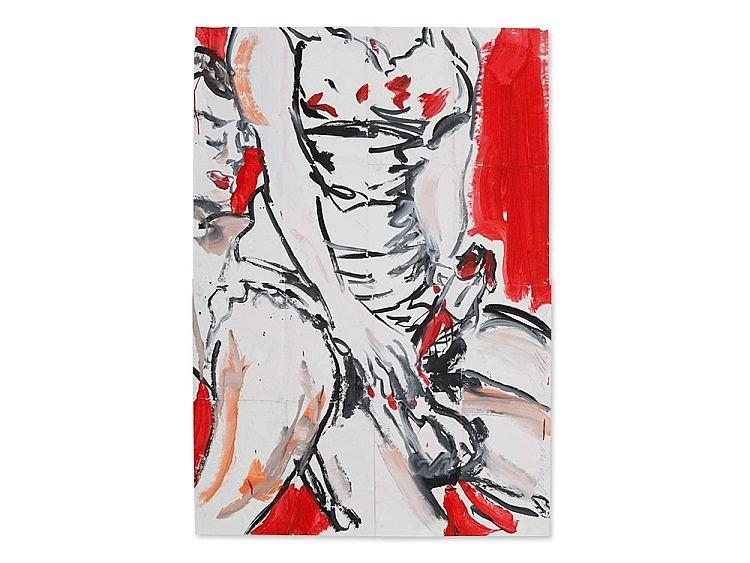Luciano Castelli, Large Format Gouache, 'Intercourse', 1982