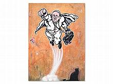 Maupal (b. 1972), Street Art Painting, 'Super Pope', 2014