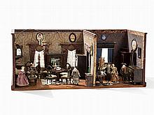 Doll House with Furnishing & Dolls, late 19th century