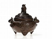 Bronze Tripod Censer and Cover with Dragons, Ming/Qing, 17th C