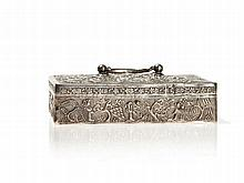 Silver Box and Cover with Fine Repoussé, Qing