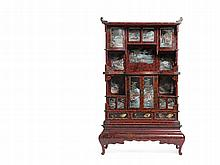 Imposing Japanese Lacquer Cabinet with Landscape Scenes, Meiji