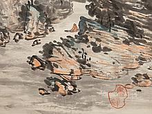 Scroll painting 'Mountain Landscape with River', Japan, c. 1930