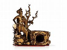Gilt-Wood Carving of a Luohan with Bowl, China, Qing