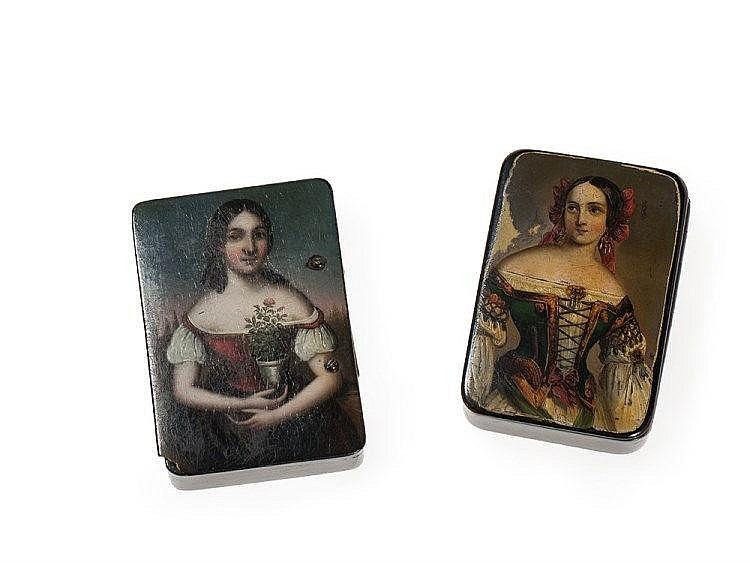 Two Fine Snuff Boxes with 'Young Beauties', early 19th Century