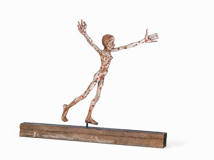 Hans Scheib (b. 1949), Fleeing Girl, Wood Sculpture, c. 1990