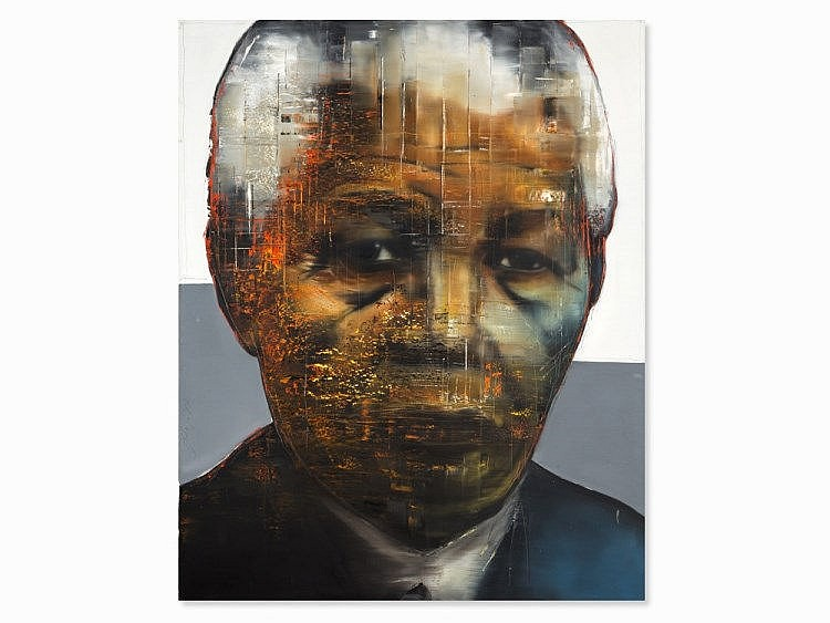 Stephan Kaluza, Oil on Canvas, 'Nelson Mandela', 1997