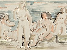Edvard Frank (1909-72), Watercolour 'Bathers', 1929-30