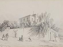 Albert Anker, Drawing 'House Hans Baumann in Neuchâtel', 1854