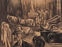 Albert Birkle, Chalk, 'In der Königsallee in Berlin', 1920