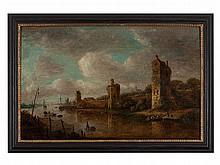 Circle of Jan van Goyen, 'Town Wall on a River', 17th C.