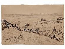 Vincent Van Gogh, Drawing 'The Plain of La Crau', 1888
