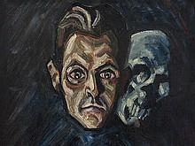 Emil Betzler (1892-1974), 'Self-Portrait with Skull', 1918