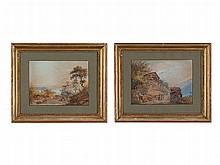Johann U. Burri (1802-1870), Watercolours, Two Swiss Veduta