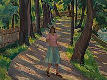 Hermann Mühlen, Oil Painting, Alley of Trees with Woman, 1946