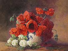 Max Th. Streckenbach, Still Life Poppies & Guelder Rose, 1910
