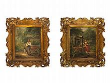 Pair of Oil Paintings, Wells in Romantic Landscape, 19th C