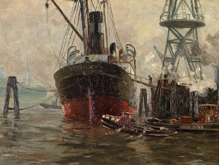 Paul Lehmann-Brauns, Oil Painting 'Im Dock', after 1930