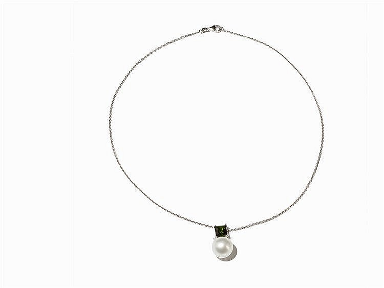 Nacklace with Pendant, South Sea Pearl & Tourmaline, 14K Gold