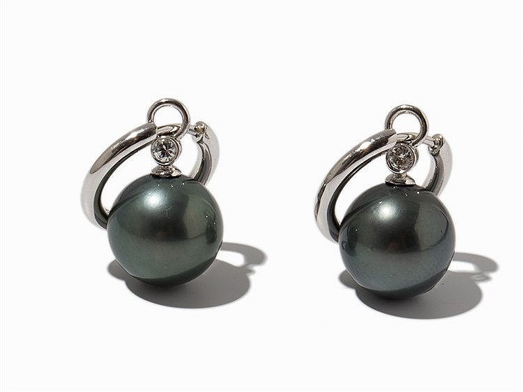 Pair of Earrings with Tahitian Pearls & Diamonds, 18K Gold
