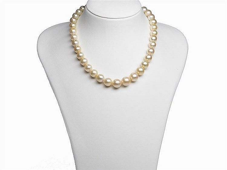 South Sea Pearl Necklace 9.8 - 13.5 mm with 14K Gold Clasp