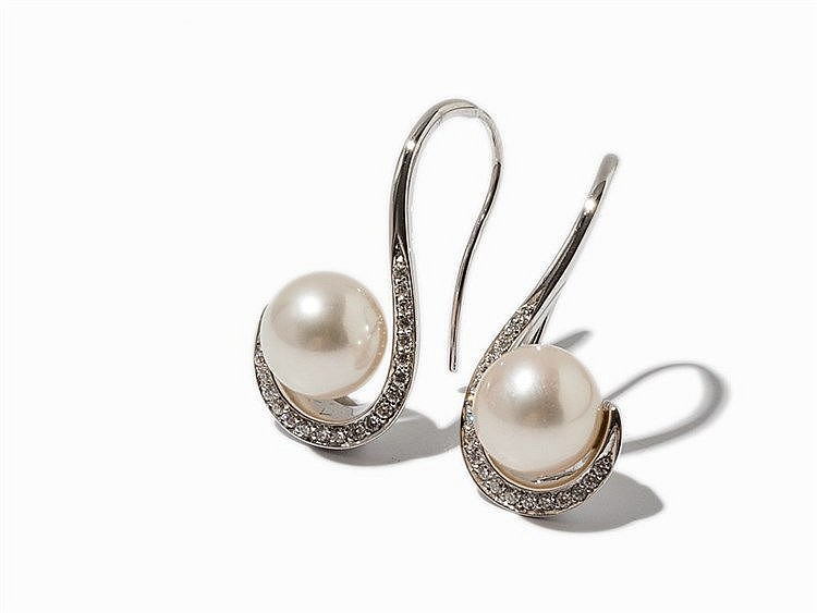 Pair of Ear Hangers with Freshwater Pearls & Diamonds, 14K Gold