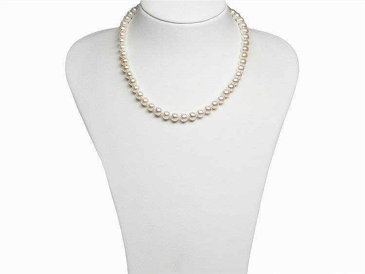 Akoya Pearl Necklace 7.5 - 8 mm with 14K Diamond Gold Clasp