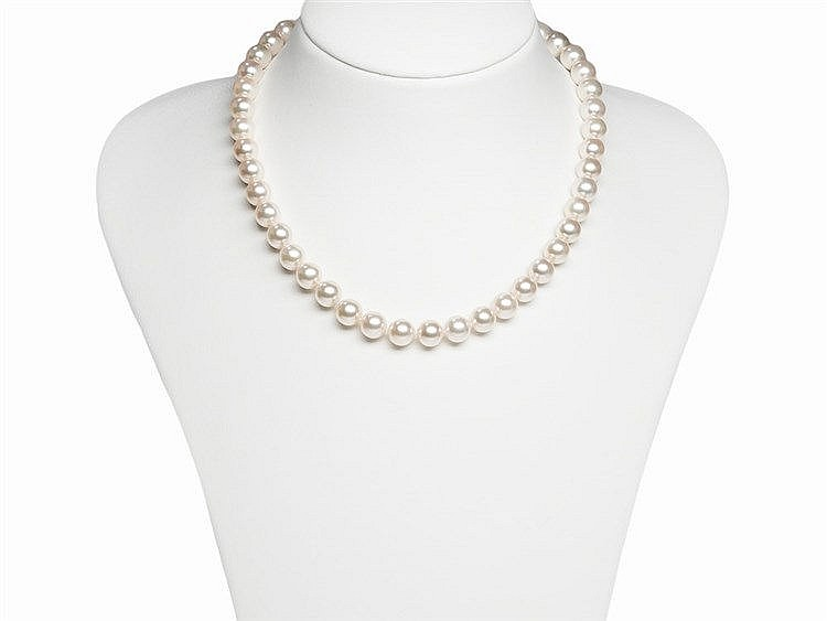 Akoya Pearl Necklace 9 - 9.5 mm with 14K Diamond Gold Clasp