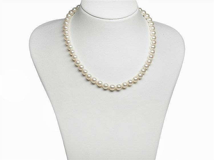 An Akoya Pearl Necklace 8 - 8.5 mm with 14K Diamond Gold Clasp