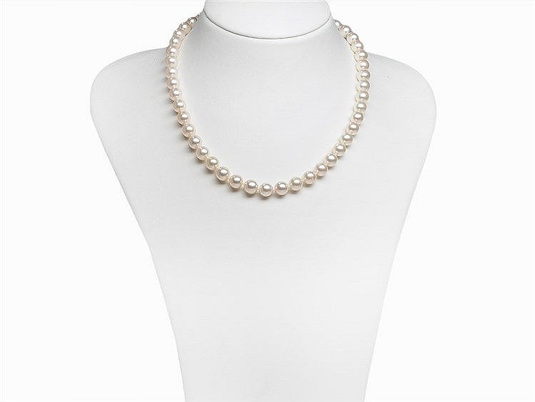 Akoya Pearl Necklace 9 - 9.5 mm with 18K Diamond Gold Clasp
