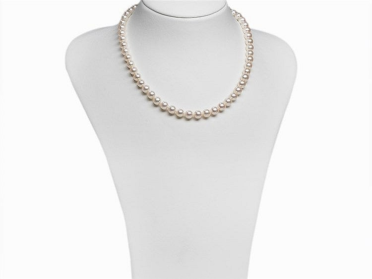 Akoya Pearl Necklace 7,5 - 8 mm, Good Luster, 14K Gold Clasp