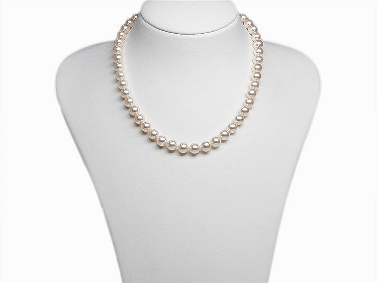 Akoya Pearl Necklace 8.5 - 9 mm with 14K Diamond Gold Clasp
